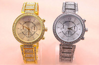 50pcs/lot Freeshipping New arrival hot sales high quality GENEVA style metal watch with much stone,quartz movement