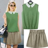 2014new  European streets  fashion summer women's hemp cotton twinset peter pan collar sleeveless Tee top short  set s1