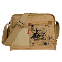 2014 casual preppy style 100% cotton messenger bag thick canvas bag small horizontal Free Shipping