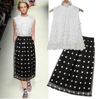 2014 summer fashion street fashion jacquard dot gauze  vest one-piece dress twinset one-piece dress free shipping!