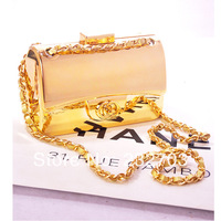 Fashion shaping bag gold small day clutch small box bag messenger bag