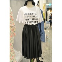 2014 summer fashion letter print t-shirt black and white color block pleated twinset dress female free shipping!