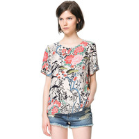 2014 Spring New  Women's Tops Ladies Chiffon Floral Blouse Casual Short-sleeve O-neck Collar Shirts Free Shipping 5WTS249