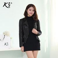 Kis motorcycle spring short design sheepskin leather clothing female genuine leather cool slim short jacket women clothing