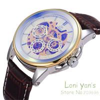 SHENHUA Luxury Allochroic Glass Men Day 6 Hands Watch Auto Mechancial Wristwatches Watches+Gift Box Free Ship