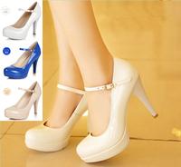 1825 Wholesale!Ankle Strap Flower 7.8cm Women high heels Wedding party shoes Platform 3 colors Size36-39