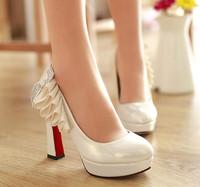 1824 Wholesale!PU Round Toe Cow Muscle Flower Women high heels Platform 11cm Wedding party shoes Size36-39
