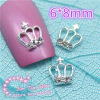 Alloy rhinestones crown nail art decoration about 6*8mm,50pcs/lot