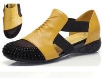 2014 Women Sandals female flat heel rhinestone cutout elevator colorant match spring and summer sandal plus size shoes 40 - 41