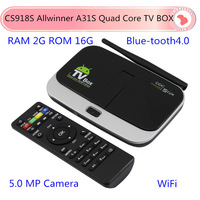 CS918S Android TV Box Allwinner A31S Quad Core Android 4.2 2G/16G BT RJ45 WIFI Mini Smart TV Media Player with Remote Controller