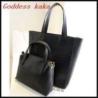Hot!!! Wholesale new design 2014 two piece set women handbag Alligator Pattern shoulder bags women PU leather bags G034