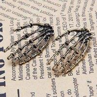 2014 fashion Cool Rock Punk  Skeleton Skull Hand Palm Ear Stud Earrings #5515