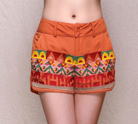 2014 Summer New National Style Embroidery, Flax Fabric Women Mini shorts,FREE SHIPPING.