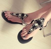 Free Shipping hot sale 2014 fashion Western Roman flat rhinestone sandals,girl's sweet bling flip flops,women flatform sandals