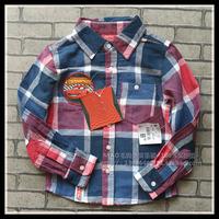Free Shipping- classic kids/boys long sleeve plaid shirt, size 2 to 10, boys plaid shirt w cars applique(MOQ: 5pcs)