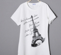 Simple Matching T shirt 2014 New Products Girl O Neck Short Sleeve Polyester Eiffel Tower In Pairs Print White Free Size Tees