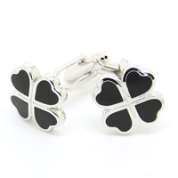 Lucky clover black Cufflinks high-end fashion