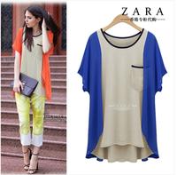 free shipping!New Fashion star style women's fashion loose shirt cotton chiffon shirt