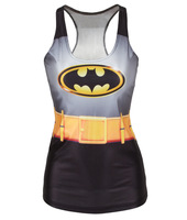 EAST KNITTING V-56 Free Shipping spring new 2014 women t-shirt batman  adventure time Friends GFT camisole HOT SALE