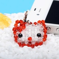 2014Free shipping + Hot sell new Hand woven artificial crystal 4mm glass bead HELLO KITTY CAT face mobile phone accessories