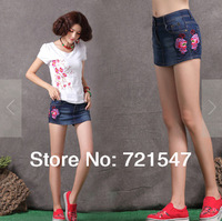 2014 Summer New Chinese Style Embroidery Butterfly, Women Mini Shorts Skirts Jeans,FREE SHIPPING.
