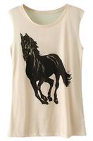 Spring 2014 new t shirt women Running Horse Print Loose Women  white Free shipping