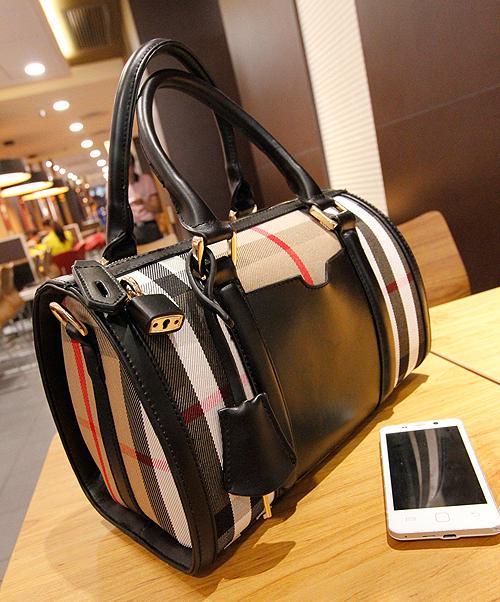 2014 new fashion four seasons all-match genuine leather cowhide portable women's handbags check plaid elegant shoulder bag(China (Mainland))