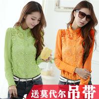 Female chiffon shirt 2014 spring patchwork lace chiffon  cutout shirt basic shirt long-sleeve shirt