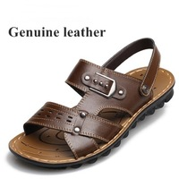 Free shipping 2014 men summer shoes beach sandals slippers leather handmade sandals