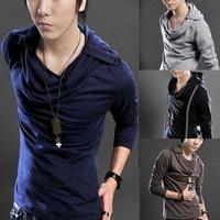 Hot Korean Badges Hooded Design Men's Long Sleeve T-Shirt Tee Fashion Stylish