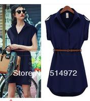 New 2014 Summer Women Ladies Short Sleeve Chiffon Casual OL Belt Shirt  Mini Dress S M L XL Plus Size Free Shipping