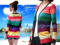 11.11 Sales-New 2014 Women Long Sleeve Colorful Stripes Rainbow  color Autumn Tops Knitting Knitwear Sweater Cardigans