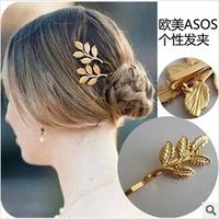 Nice DIY Wholeslae Retail 12pcs/lot Olive Branch Hair Clip Metallic Golden Leaf Hair Pin Hair Jewelry