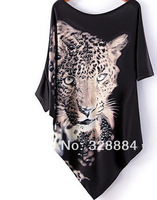 European Brand Street  Black Irregular T shirts 2014 Girl O Neck Batwing Sleeve Loose Plus Size Leopard Head Print  Fashion Tees