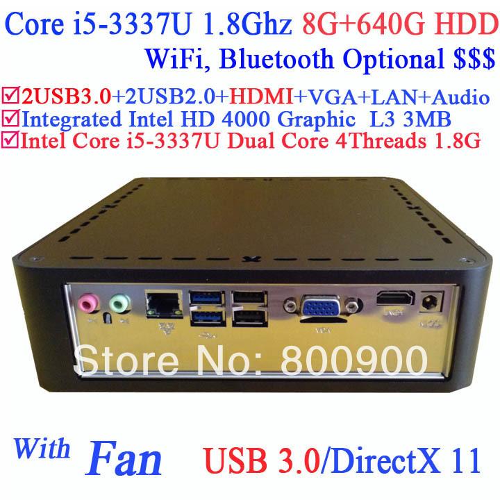 custom mini pc workstation with Intel Core i5-3337U 1.8GHz third generation i5 Ivy Bridge 8G RAM 640G HDD Windows or Linux(China (Mainland))