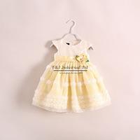 2014 Free Shipping Girl Dresses Yellow Flower Kids Dress Summer Girls Clothes Children Wear Free Shipping