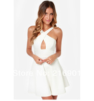 New 6 Size XS to XXL Fashion women Prothorax Cross Sexy Strapless Racerback Halter-neck princess dress White Black Red Blue