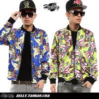 2013 neon color personalized west coast silk cashew flowers male jacket coat
