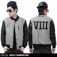 Black heart heybig chest zipper grey hiphop male woolen baseball clothing baseball uniform jacket