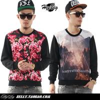 Heybig west coast hiphop 3d flowers letter sweatshirt male