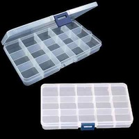 Compact Adjustable 15 Compartment Plastic Storage Box Jewelry Tool Container NEW