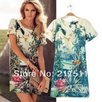 Free Shipping MC14043014 Fashion 2014 Women's Colorful Flowers Birds Graphic Pattern Print Short-sleeve Hot Sale Girl Mini Dress