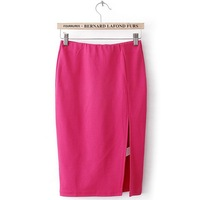 Candy Color Slim OL Best Elastic Empire Waist Summer Korean Hip Fitted Split Mid Calf Formal Women Vintage Pencil Skirt  lyq88