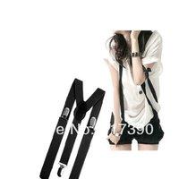 Mens / Ladies unisex Black Plain Colour Adjustable Slim Trouser Braces Suspenders Black