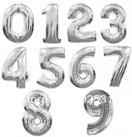 4PCS 16 Inch Silver/Golden 2014 Digital 0-9 Figure Number Balloons Foil Balloon For Wedding Birthday Party Decorative