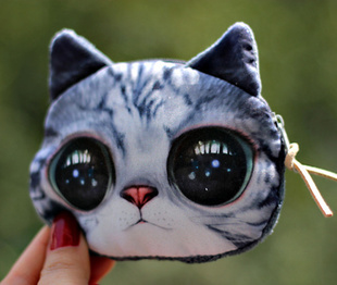 big face cat fashion Zipper Coin Wallet fashion coin purses cat change purse cu