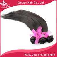 "Queen Hair Products Virgin Brazilian Hair Free DHL 5A GRADE Brazilian hair 2pcs/lot, Straight Hair Extension, color1b# , 12""-28"""