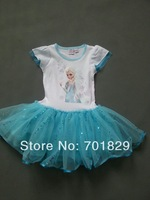 Free Shipping!!!2014 Hottest Frozen Girl Elsa's Dress Lace Dress The Real Goods Shooting!!!4PCS/Lot