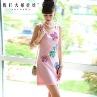 Lovable Secret - Female 2014 women's one-piece dress pink sequin embroidery sleeveless slim one-piece dress  free shipping