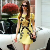 Lovable Secret - Yellow lace print vintage small a short-sleeve female one-piece dress  free shipping